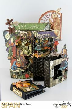 Dimensional Boxes Halloween in Wonderland Tutorial by Marina Blaukitchen Product by Graphic 45 photo 11 Halloween Food Crafts, Diy Halloween Decorations, Halloween Cards, Halloween Scrapbook, Mini Scrapbook Albums, Scrapbook Paper Crafts, Graphic 45, Pop Up Tunnel, Tunnel Book