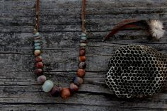 Raised from ashes  circular necklace with amazonite por LAccentNou, $80.00