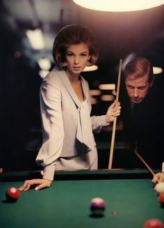 Anne de Zogheb and unidentified male at Julian's Billiard Academy,McCall's, March 1963. Photo by William Helburn