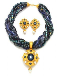 Hand-fabricated in high-karat eco-gold set with natural gemstones, pearls, coins and carvings Simple Jewelry, Gold Jewelry, Beaded Jewelry, Fine Jewelry, Handmade Jewelry, Beaded Necklace, Beaded Bracelets, Jewellery, Gold Set