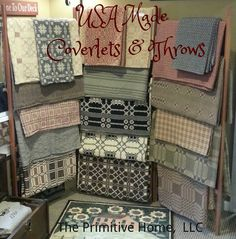 Family Heirloom Weavers coverlets and throws. The Primitive Home, LLC Colonial Home Decor, Country House Interior, Country Family Room, Country Decor, Primitive Antiques, Primitive Decor, Weavers Cloth, Country Treasures, Linen Fabric
