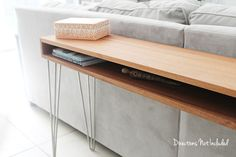 DIY MidCentury Console Table - Directions Not Inlcuded {something like this for under the TV to hold electronics? DIY from rougher plywood with bevel ply edge? Midcentury Console Tables, Slim Console Table, Mid Century Console, Diy Furniture Videos, Behind Couch, Furniture Inspiration, Home Living Room, Home Projects, Decoration