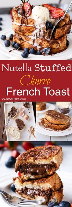 Enjoy Easter Breakfast with Nutella Stuffed Churro Donut French Toasts! http://cafedelites.com