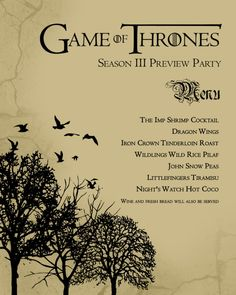 My Game of Thrones Party Menu! With GOT themed menu items