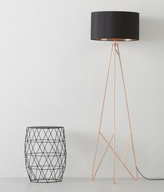 Modern Geometric Shaped Tripod Floor Lamp With Black Fabric Shade