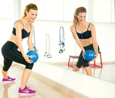 At-Home Workout to Tone All Over: Try the 'Medicine Ball Lunge' to work your butt and thighs #SelfMagazine