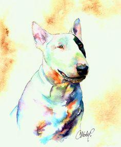 Great #Bull #Terrier #Art - Pastel Drawing                                                                                                                                                     Más