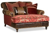 brown leather fabric double chair