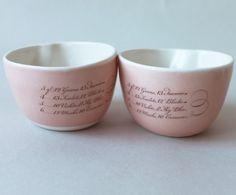 pretty pink calligraphed porcelain bowls by gleenashop