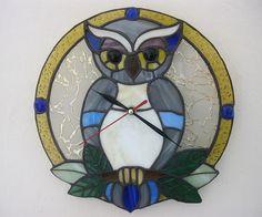 Stained glass clock Tiffany Owl Wall decor Handmade от MyVitraz