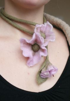 Felted  spring flower in pink for your neck,hand or hair