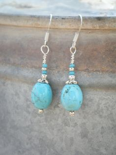 Tourquoise Barrel and Silver Dangle Earrings by RockBottomBeads, $15.00