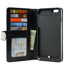 5.5-inch iPhone 6 Plus Folio PU Synthetic Leather Wallet Power Battery Case 5000 mAh - Navor (Black)