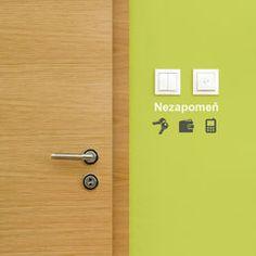 Samolepky na zeď nezapomeň ikonky ke dveřím Mobiles, Wall Stickers, Door Handles, Design, Home Decor, Presents, Decoration, Wall Clings, Door Knobs