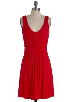 Made in the Braid Dress - Mid-length, Red, Solid, Braided, Casual, Sheath / Shift, Tank top (2 thick straps), Ruching, Jersey, V Neck