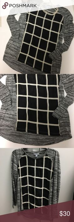 NWT WINDOW PANE HIGH LOW TOP Beautiful high low top window pane panel in front so says petite small but would fit a small or a medium Tribella Tops Tunics
