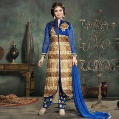 Blue - Tan Georgette Ayesha Takia Suit
