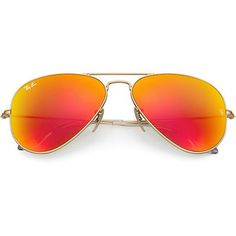 Ray-Ban Aviator Gold Sunglasses, Orange Flash Lenses - Rb3025