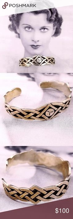"""Vintage Sterling Celtic knot trinity cuff bracelet Vintage Sterling silver Celtic knot Trinity cuff bangle bracelet. Measures .75"""" tall at the fullest. 2.5"""" wide, 7"""" in length with a 1"""" opening. Can be adjusted. Stamped Sterling. Some present. Excellent vintage condition. Offers welcome. Reasonable offers accepted. Add to a bundle for a nice deal ❤ Vintage Jewelry Bracelets"""