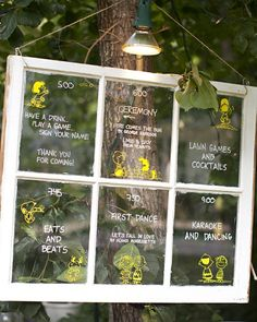 An old window was transformed into a unique display, showcasing the wedding day's outdoor itinerary.