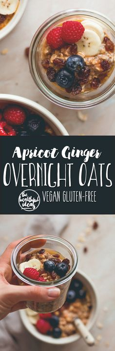 Apricot Ginger Overnight Oats - these are so easy to make and really delicious. The PERFECT breakfast for a busy day! (vegan, GF) | thehealthfulideas.com