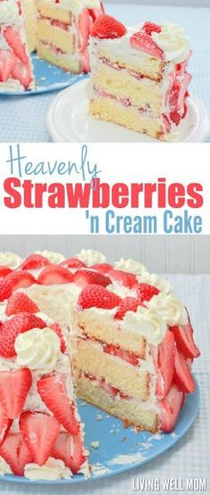 Heavenly Strawberries 'n Cream Cake tastes just as incredible as it looks. With fresh strawberries, homemade whipped cream, and a light pound-cake-type texture, it's the winning strawberry dessert recipe you've been looking for! Get the step-by-step photo Mini Desserts, Brownie Desserts, Strawberry Dessert Recipes, Just Desserts, Delicious Desserts, Yummy Food, Strawberry Smoothie, Oreo Dessert, Coconut Dessert