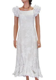 475b6233549 White Long Ruffled Wedding Muumuu La ele Print Dress ...