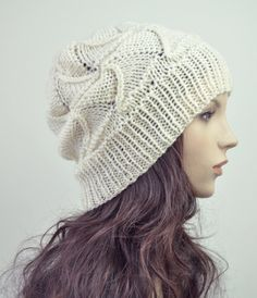 hand knit wool Hat cream ivory hat by MaxMelody on Etsy, $30.00