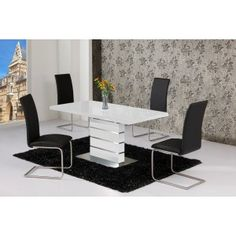 Arctic Black Glass and White High Gloss Extending Dining Table