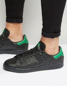 582a5d3ce585b4 adidas Originals Stan Smith Snake Effect Trainers In Black S80022