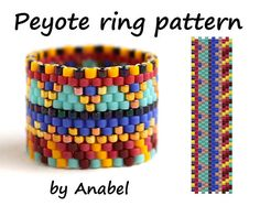 Wide beaded ring pattern Peyote ring pattern Seed bead ring pattern Beaded jewelry pattern Even count peyote stitch Easy beading pattern