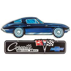 Corvette Sting Ray Embossed Hanging Tin Sign⎜Open Road Brands