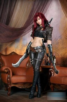 LoL Katarina Cosplay Full suit for Halloween Party Leather Customizeb $60.00