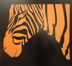 Acrylic-Spray-Paint-Art-Animal-Zebra-Black-and-Orange