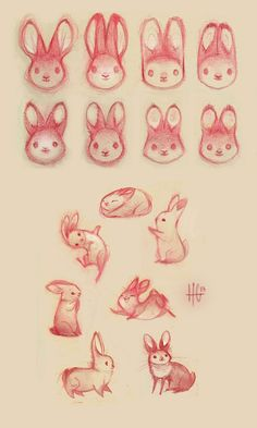 More for the project I am working on with my roomie Denae :D Lots of rabbit faces and some fun with poses and shapes.