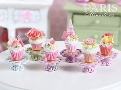 Miniature Pink Cupcake with a Pink Eiffel Tower by ParisMiniatures