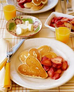 Make It Heart-Shaped Valentine's Day Breakfast Recipes | Martha Stewart Living - With lots of help from her daughters, Daisy, Ella, and Pippa, Martha Stewart Weddings Editorial Director Darcy Miller will be masterminding Valentine's breakfast for her husband, Andy. Heart-shaped pancakes are a must -- everyone loves them!