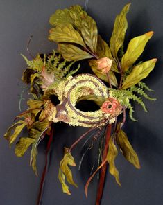 Spiral Debris  Green Man Nature Mask Wearable  by CedarfoxStudios