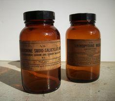 Vintage Pharmacy Merck Drug Bottles - love the lables