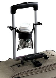 TuGo Cup Holder  Never know where to put your coffee cup while being subjected to intrusive pat-downs at the airport? The TuGo Cup Holder conveniently attaches to a luggage handle and nestles small to medium take-out cups without spilling a drop. $13.85 at magellans.com.