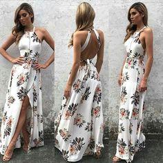 Simple Halter Side Slit Prom Dress,Floral Print Key Hole Back Evening Dress - Summer Dresses Trendy Dresses, Cute Dresses, Beautiful Dresses, Prom Dresses, Summer Dresses, Backless Maxi Dresses, Sexy Maxi Dress, Summer Skirts, Evening Dresses