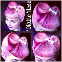 Diablo Rose: Hair Inspiration: Victory Rolls with Bettie Bangs Victory Rolls, Pin Up Hair, Love Hair, Pelo Pin Up, Pastel Pink Hair, Pelo Afro, Retro Hairstyles, Wedding Hairstyles, Unique Hairstyles