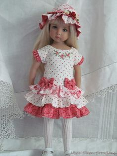 "13"" Effner Little Darling BJD fashion  rose ruffles dress OOAK handmade by JEC #ClothingAccessories"