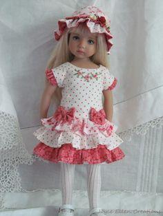 "13"" Effner Little Darling BJD fashion rose ruffles dress OOAK handmade by JEC #ClothingAccessories"