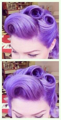 Lavender purple pastel rockabilly hair