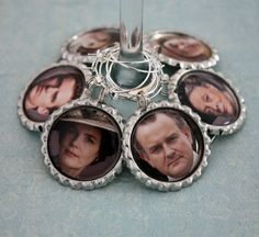 [da party] 'downton abbey' wine glass charms | wilma and betty, etsy