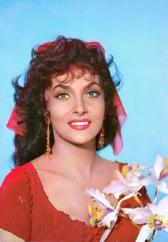 """GINA LOLLOBRIGIDA (1956) was born on July 4, 1927 in Subiaco, Italy. She is an actress & photographer. Here as Esmeralda in """"Notre Dame de Paris"""" directed by Jean Delannoy. Vintage original European postcard (France) (please follow minkshmink on pinterest) Just now"""