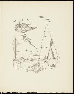 Yves Tanguy. Dormir, dormir dans les pierres: poème. 1927. Koninklijke Bibliotheek. One of the 15 pen drawings Tanguy made for his partner Benjamin Péret.