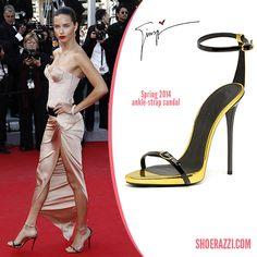 Adriana Lima in Giuseppe Zanotti Leather Ankle-Strap Sandals - ShoeRazzi