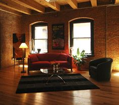 Industrial style - warehouse brick wall & sash windows for loft space? City Living, My Living Room, Home And Living, Living Spaces, Lofts, Brick Wall Decor, Warehouse Living, Loft Stil, Exposed Brick Walls